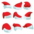 Royalty-Free Stock Vector Image: A set of nine hats for Santa