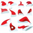 A set of twelve caps for Santa — Stock Vector