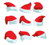 A set of nine hats for Santa — Stock Vector