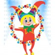 Merry Christmas clown at the carnival — Stock Vector
