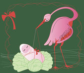 Stork with baby — Vector de stock