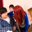 Stock Photo: Classroom flirt