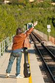 σταματώντας το τρένο — Φωτογραφία Αρχείου