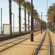 Stock Photo: Coastal tram track