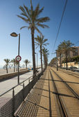 Beach tram track — Stock Photo