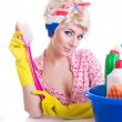 Pinup girl with cleaning set — Stock Photo #10410900