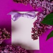 Greeting card with lilac flowers — Foto Stock