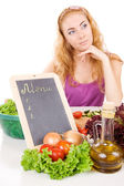 Menu board and vegetables — Stock Photo