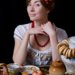 Russian woman drinking tea with samovar - Foto Stock