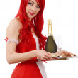 Waitress with tray and champagne - ストック写真