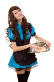 Pretty servant girl with tray — Stock Photo