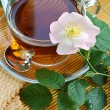 Tea with dog-rose blossom — Stok fotoğraf