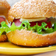 Hamburger with sausage and vegetables — 图库照片