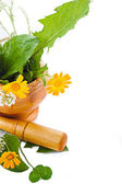 Mortar with herbs and marigolds — Stockfoto