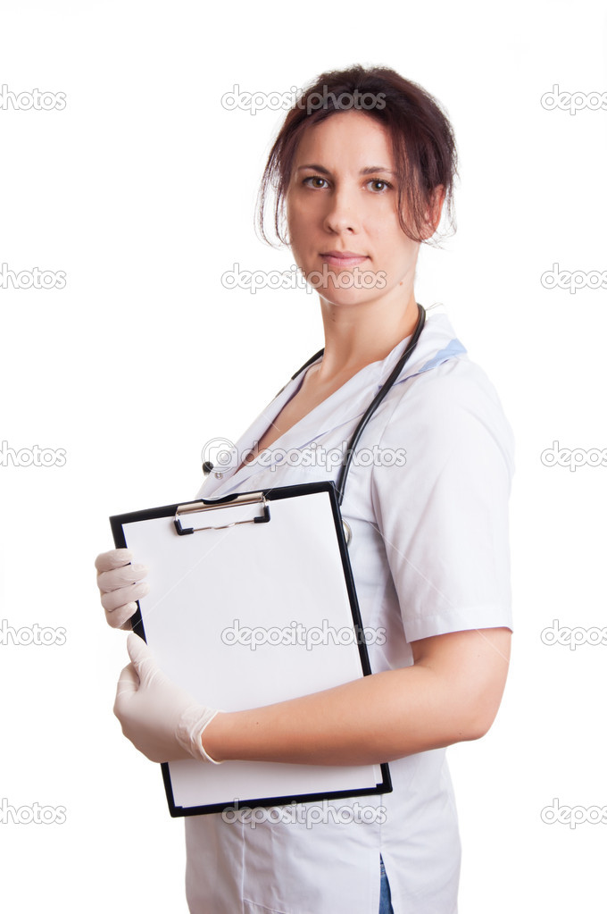 Medical doctor woman with stethoscope and papers with blank space isolated over white background  Stock Photo #9232356