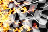 Finish flag on fire — Stock Photo