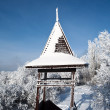 Snow-covered roof of the lookout. - Foto de Stock
