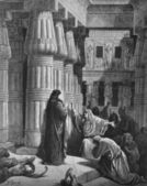 Farao förvisar moses från Egypten. — Stockfoto