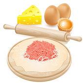 Cuisson casserole avec la viande — Vecteur