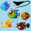 Cartoon fish set — Vector de stock #8096984