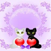 猫和加热 — 图库矢量图片