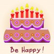 Birthday cake and seven red candles. - Stock Vector