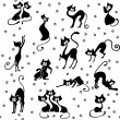 Stock Vector: Many black cats seamless
