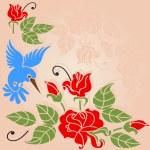Flowers and bird — Stock Vector
