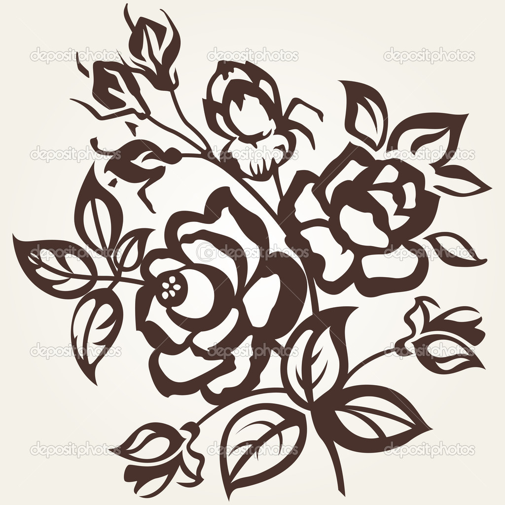 Floral designs. The branch of roses on a beige background. Vintage. — Stock Vector #8767340