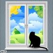 Window and cat summer - Stock Vector