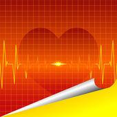 Corazón de ecg — Vector de stock