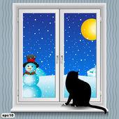 Window and cat winter — Stock Vector