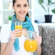 Young girl with homemade juice — Stock Photo