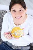 Breakfast cereals woman eating — Stock Photo