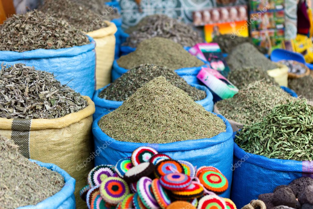 Herbs and spices on a market in  Marrakech, Morocco  Stock Photo #10303725