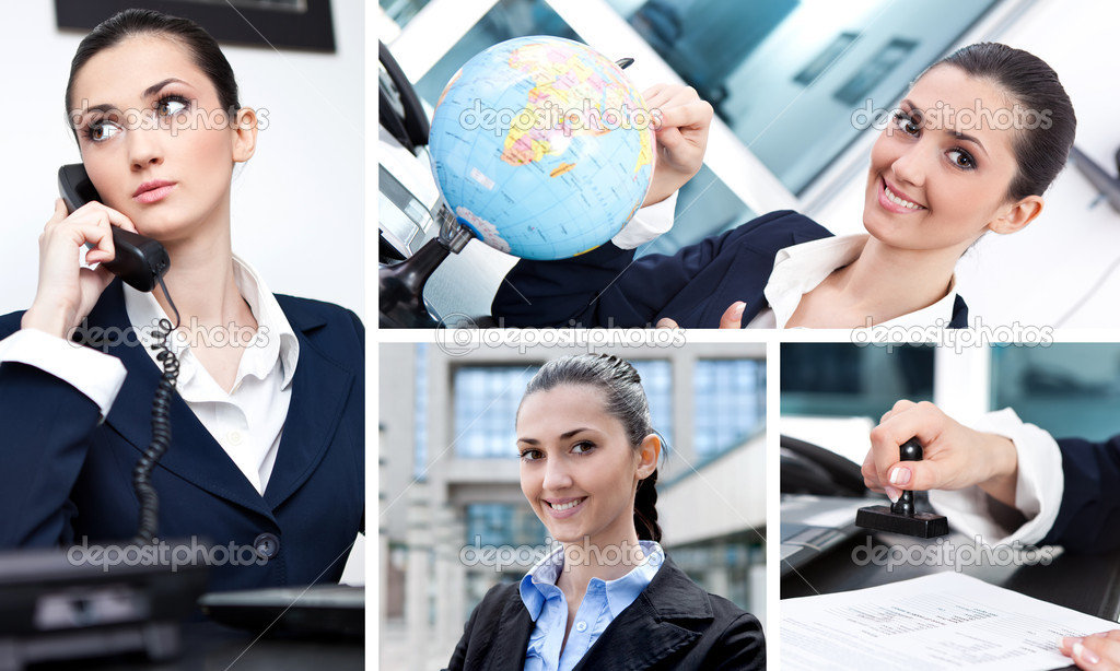 Collage of  success businesswoman in office — Stock Photo #10305499