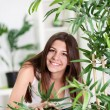 Teenager girl hidden behind plant in the living room — Stock Photo