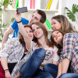 Teenagers taking group photo — Stock Photo