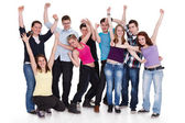 Happy group of with arms up - isolated over white — Stock Photo