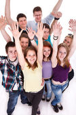 Happy young students celebrating success — Stock Photo