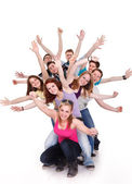 Smiling group of young friends having fun — Stockfoto