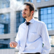 Businessman smoking - Stock Photo