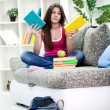 Stock Photo: Girl chosen from which to begin with homework