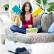 Girl chosen from which to begin with homework — Stock Photo