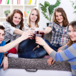 Stock Photo: Group of teenagers on private party