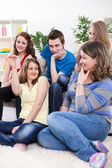 Teenagers having discussion about protection — Stock Photo