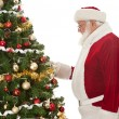 Stock Photo: Santdecorating Christmas tree