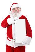 Santa holding banner — Stock Photo