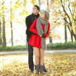 Young couple enjoying autumn in park — Stock Photo