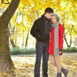 Love couple enjoying autumn in park — Stock Photo